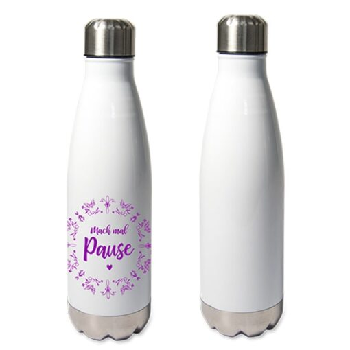 Bouteille isotherme en inox Blanc 500 ml personnalisable