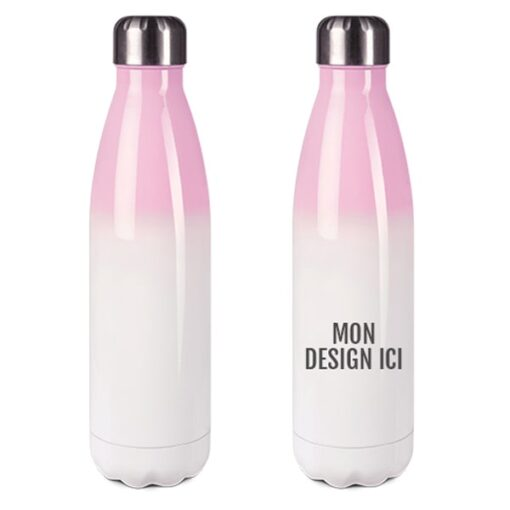 Bouteille isotherme en inox Blanc-Rose 500 ml personnalisable